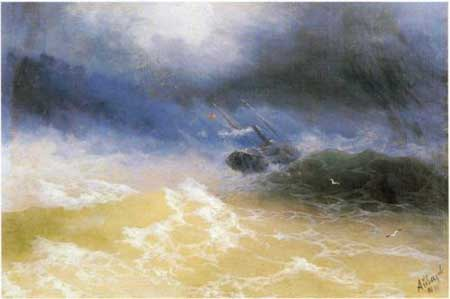 Hurricane on a sea - Ivan Aivazovsky