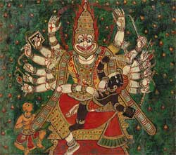 Narasimha slays Hiranyakashipu (a daityas) as Prahlada watches - 18th century - Artist Unknown