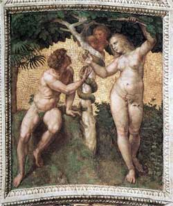 Adam and Eve, from the 'Stanza della Segnatura' - Raphael